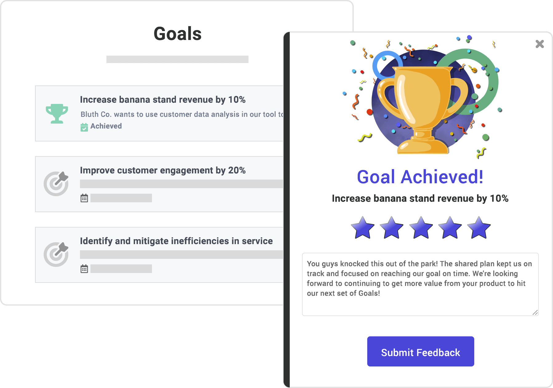 Screenshot of goals feature