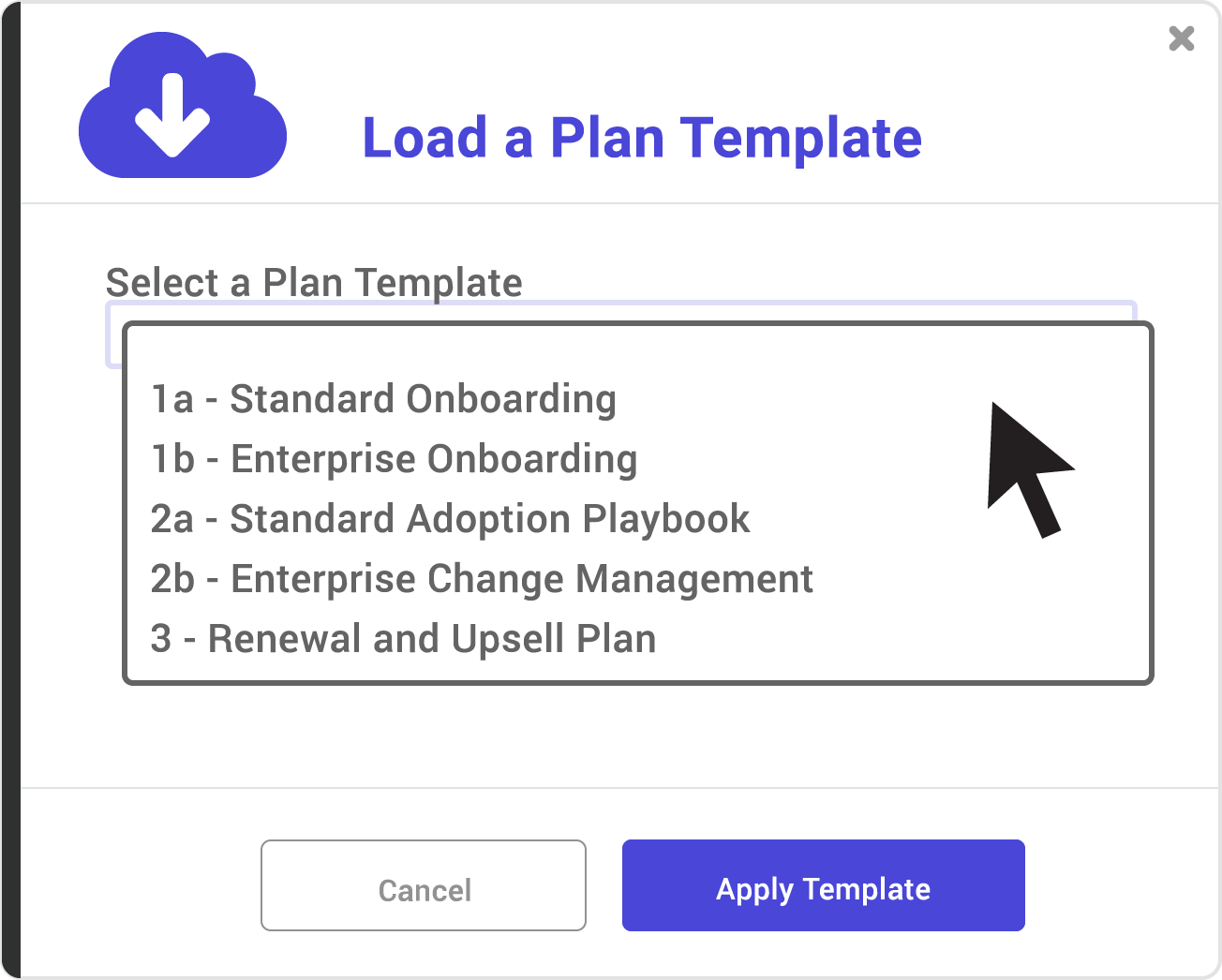 Screenshot of plan templates feature