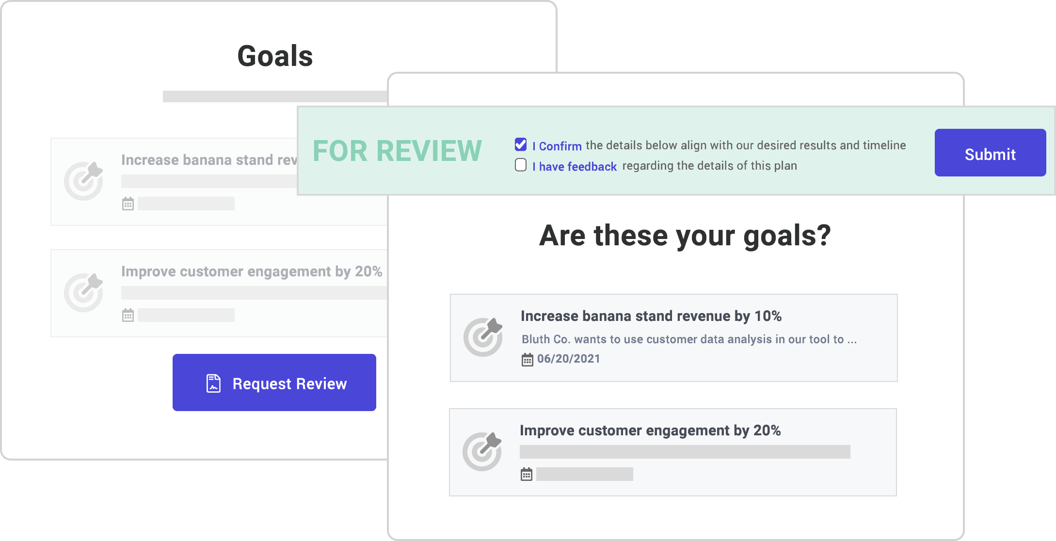 Screenshot of customer review feature