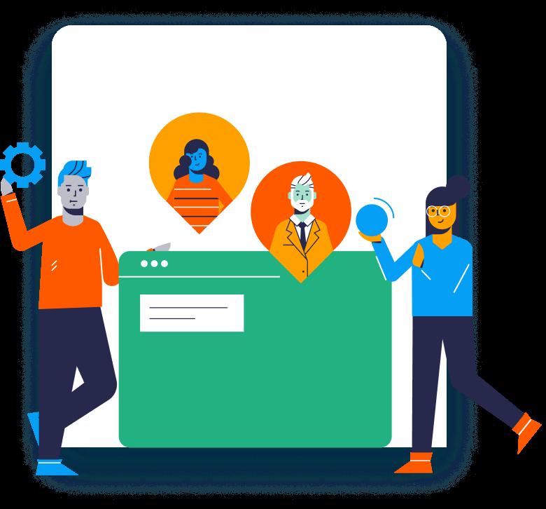 Illustration of people coordinating task workflows