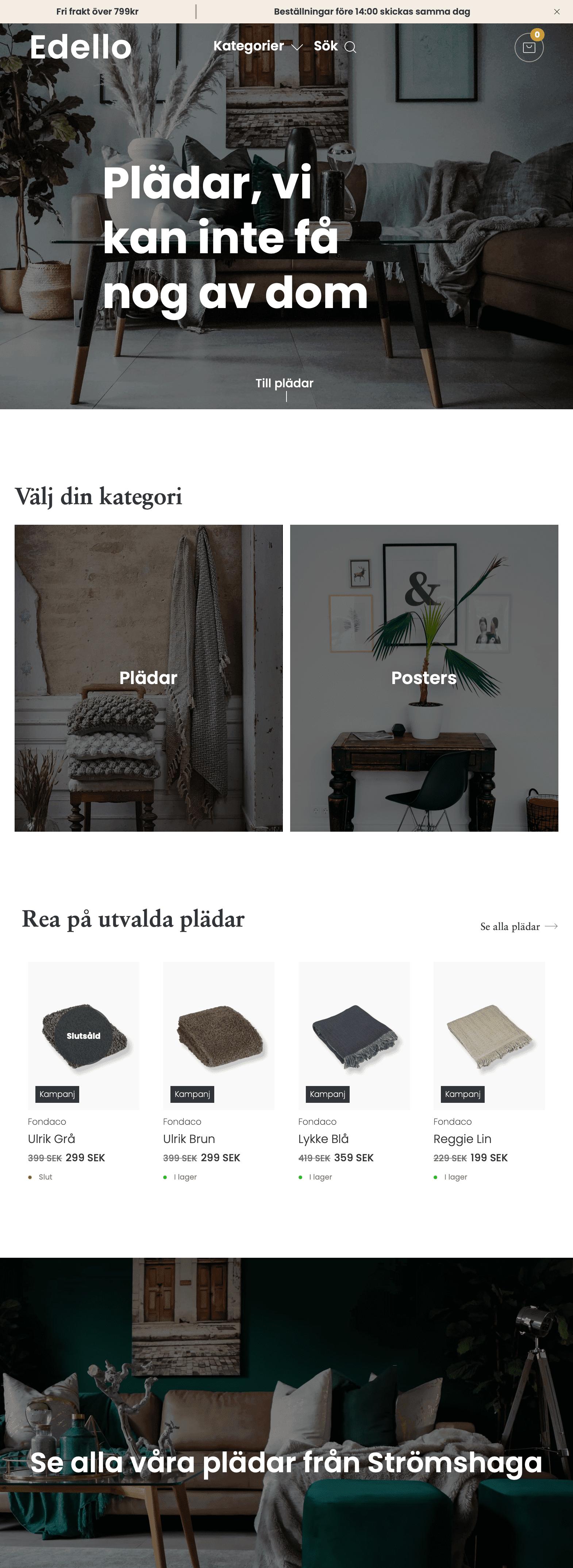 Skärmbild på Edello hemsida.