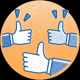 Illustration representing team success: three hands thumbs up