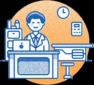 Illustration representing office: man at desk