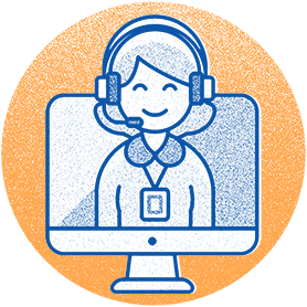 Illustration representing customer service: woman with headset on computer screen