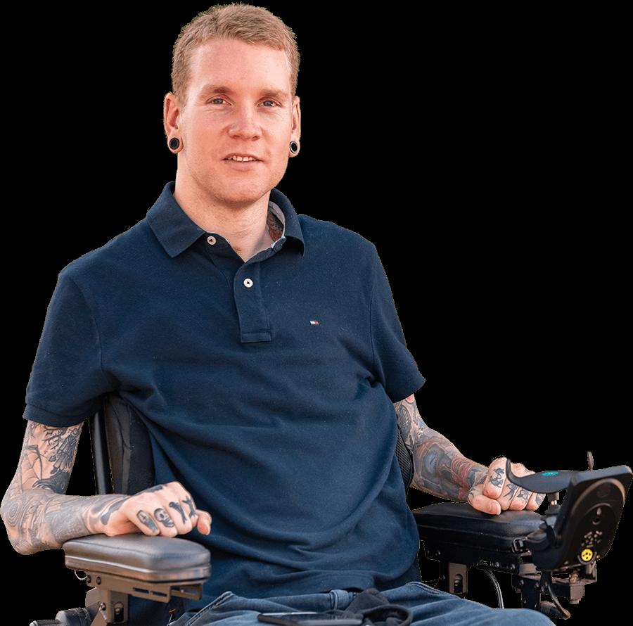 Stuart Timms has lived experience of C4 Quadraplegia