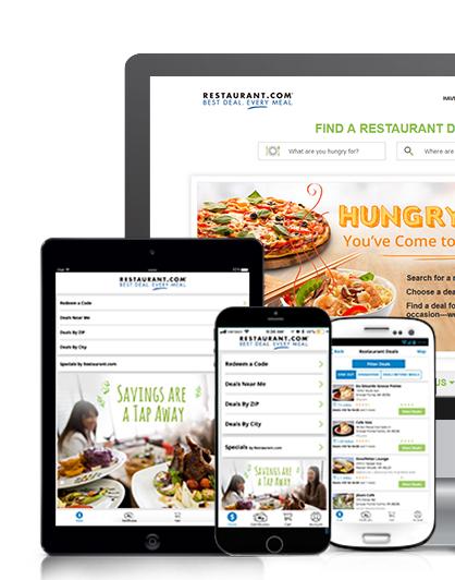 Restaurant.com mockups on multiple devices
