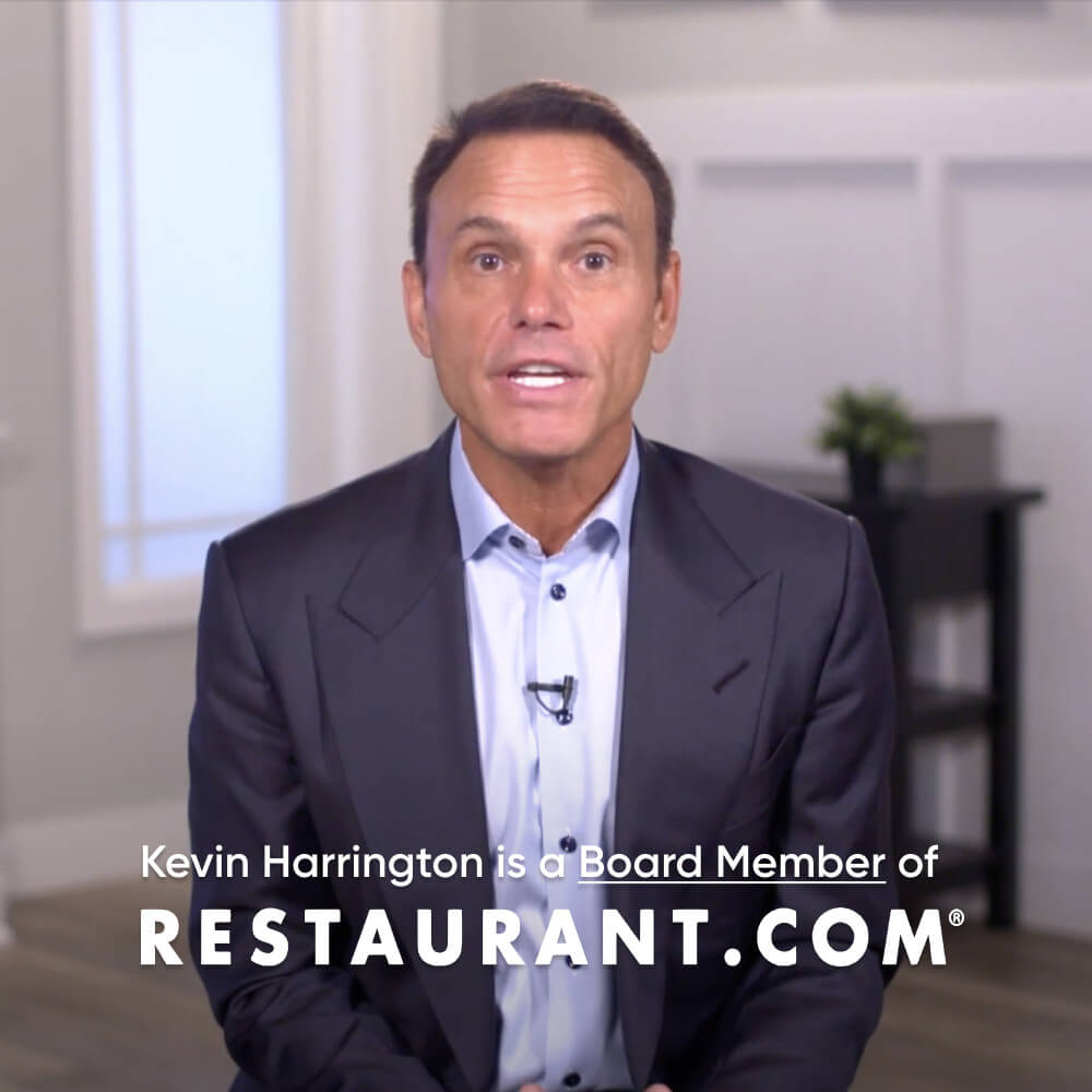 Video screenshot of Kevin Harrington from the board of Restaurant.com