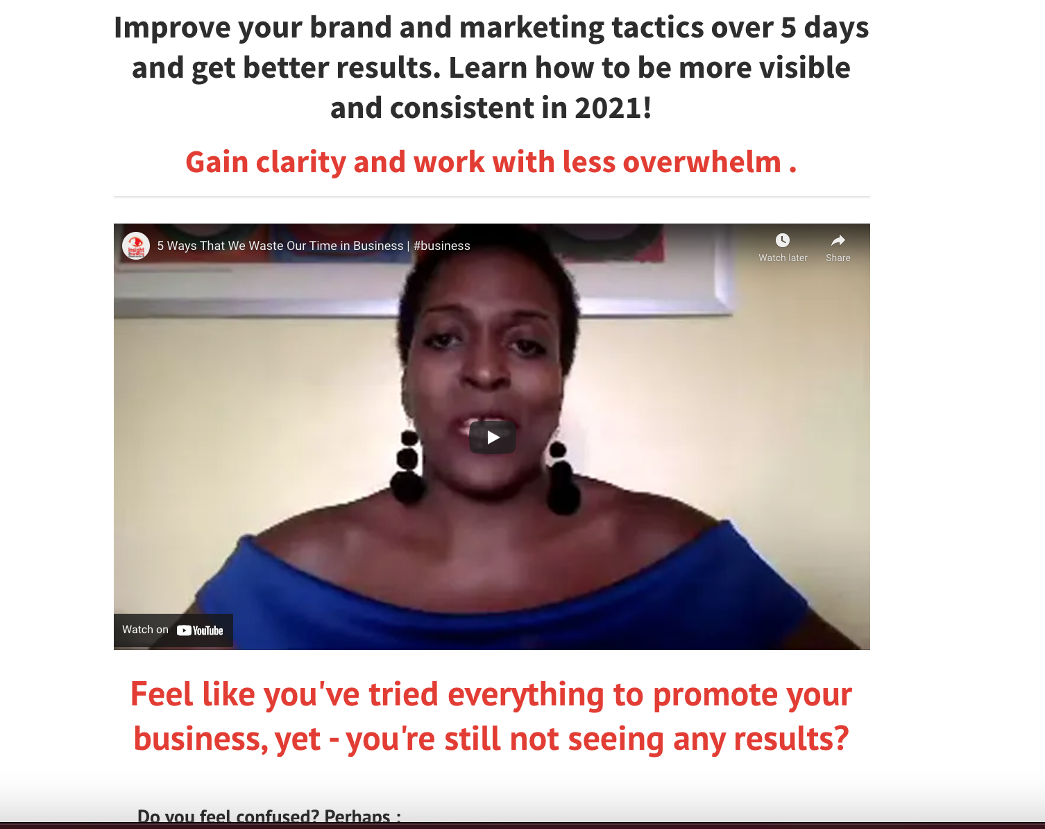5 Day Brand and Marketing Coaching Programme