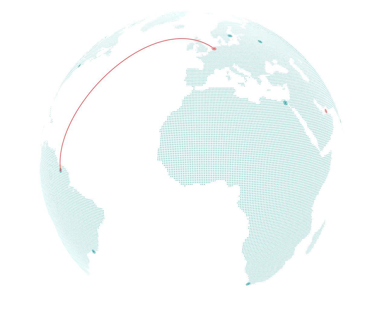 Qlick world map connecting dots