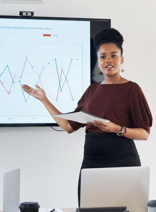 Woman presenting data
