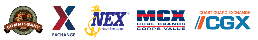 Commissary, Exchange, NEX, MCX, CGX logos