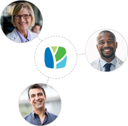 Collage of doctors around PracticeWell logo
