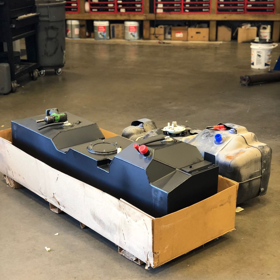 Diesel truck fuel tank upgrade with new and old tank side by side
