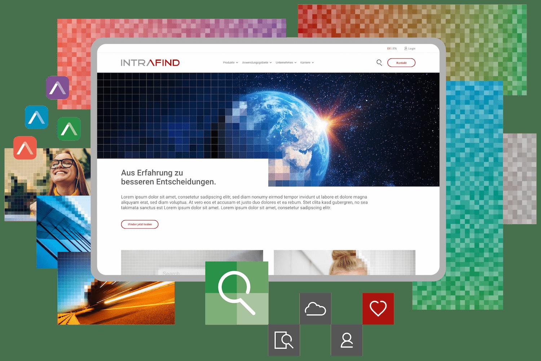 Corporate design elements template and web-design mockup