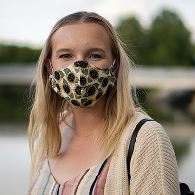 Woman wearing cloth face mask
