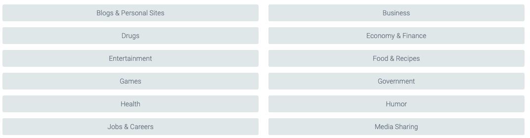 dnsfilter website categories