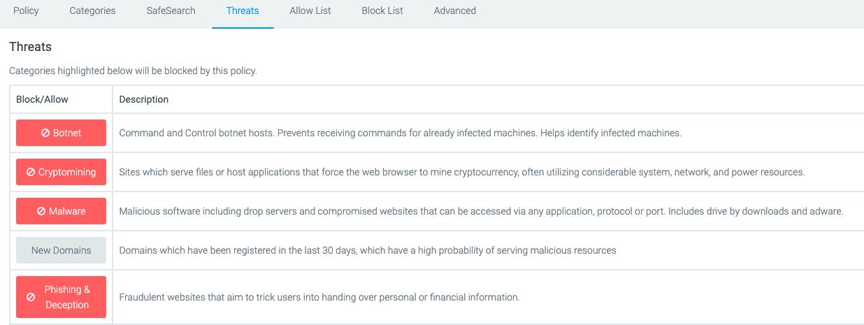block dns threats