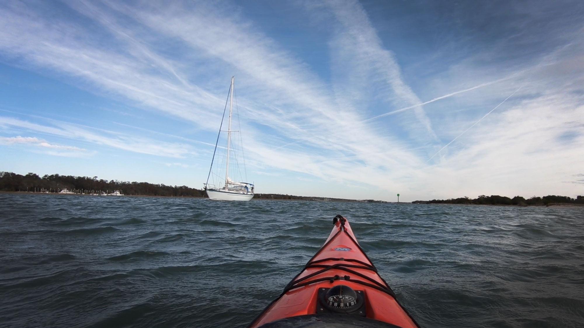 Kayak on Intercoastal Waterway heading toward Masonboro Island, North Carolina