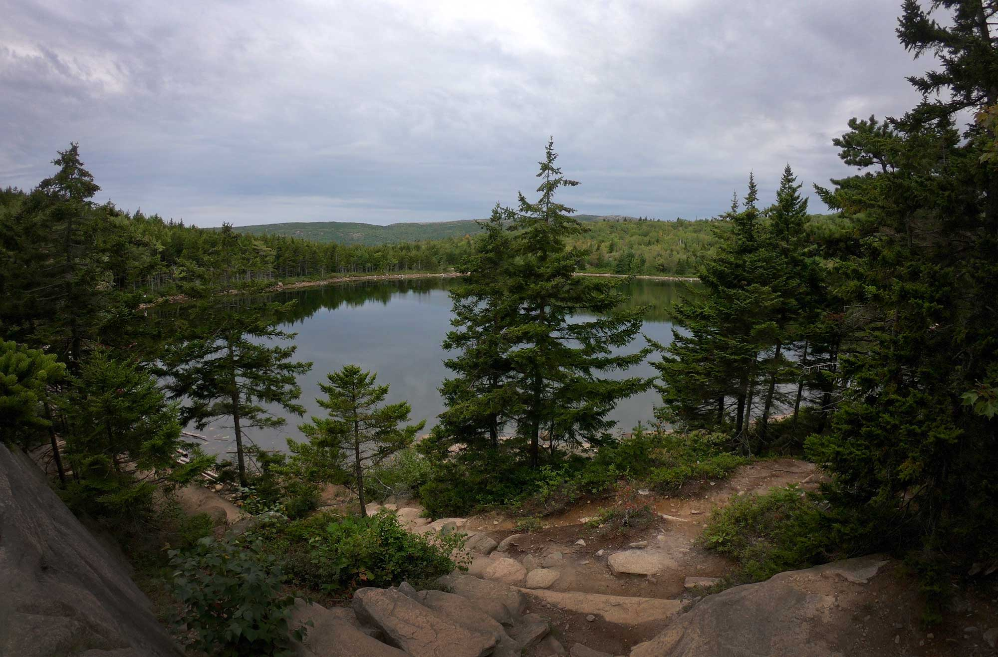 View of the lake off the Bowl Trail in Acadia National Park, Maine