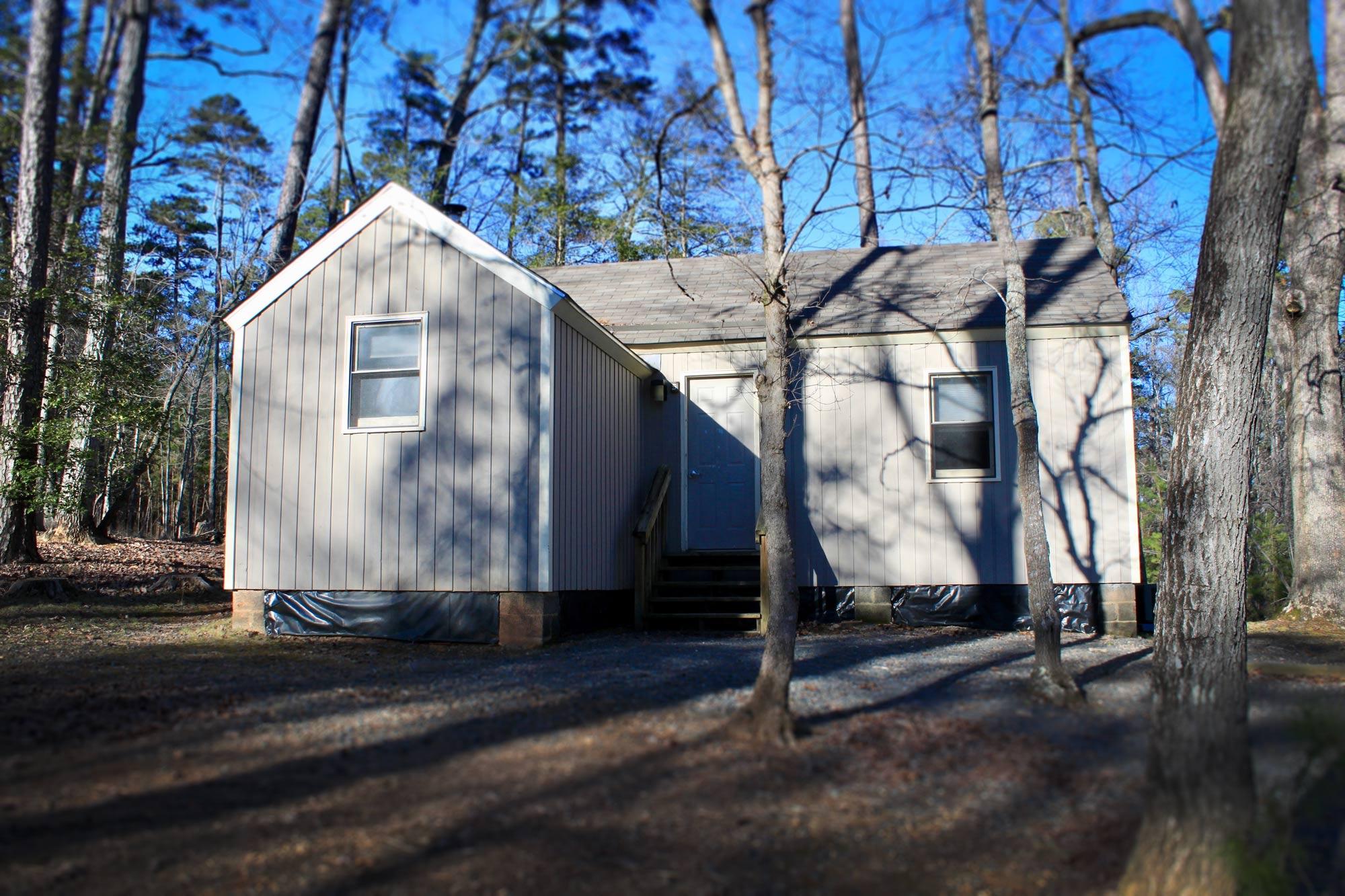 Gray vacation cabin  in Morrow Mountain State Park, North Carolina