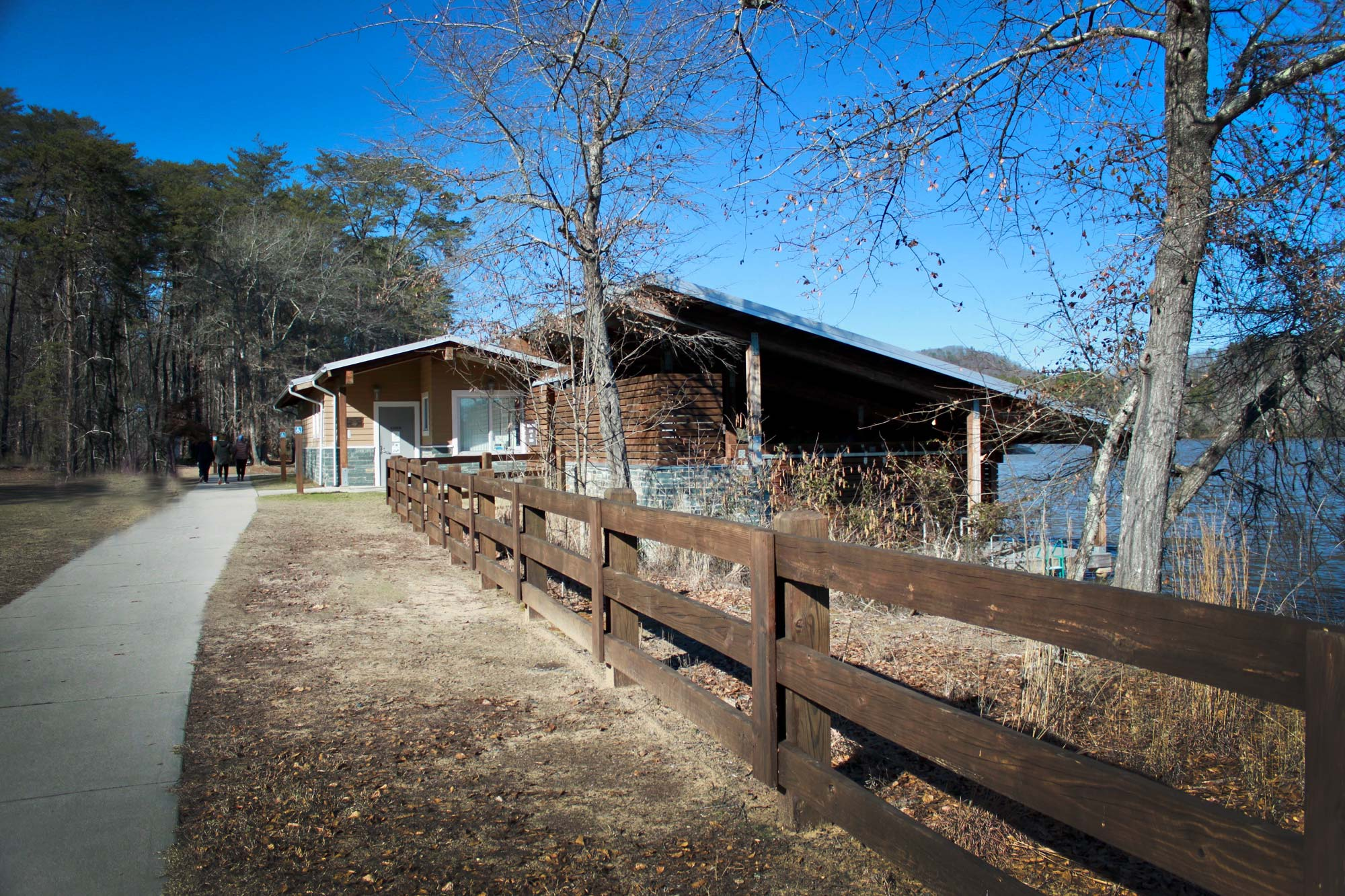 Boat house rental on Lake Tillery  in Morrow Mountain State Park, North Carolina