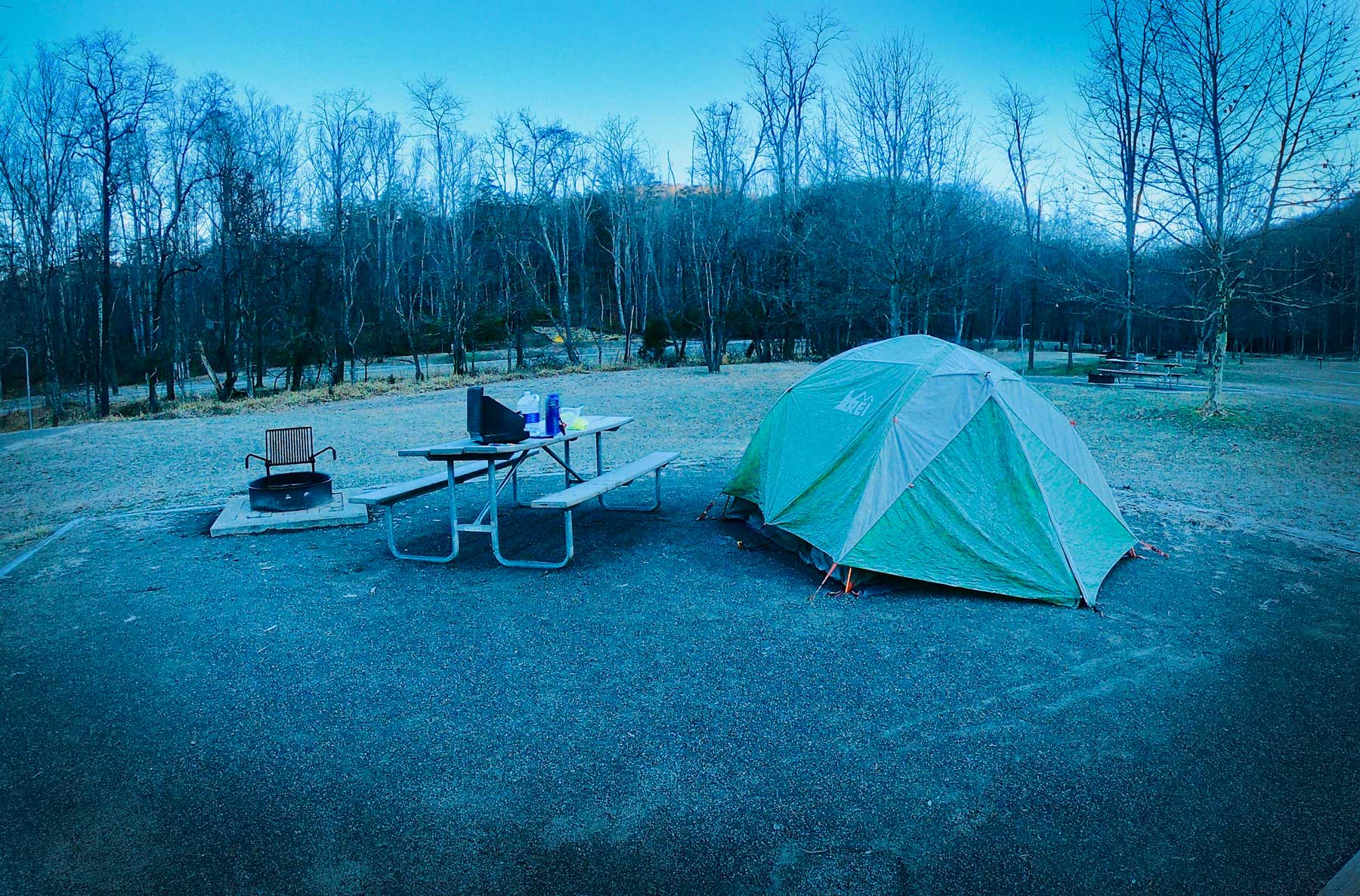 Frosty winter day tent camping in the family campground at Stone Mountain State Park, North Carolina