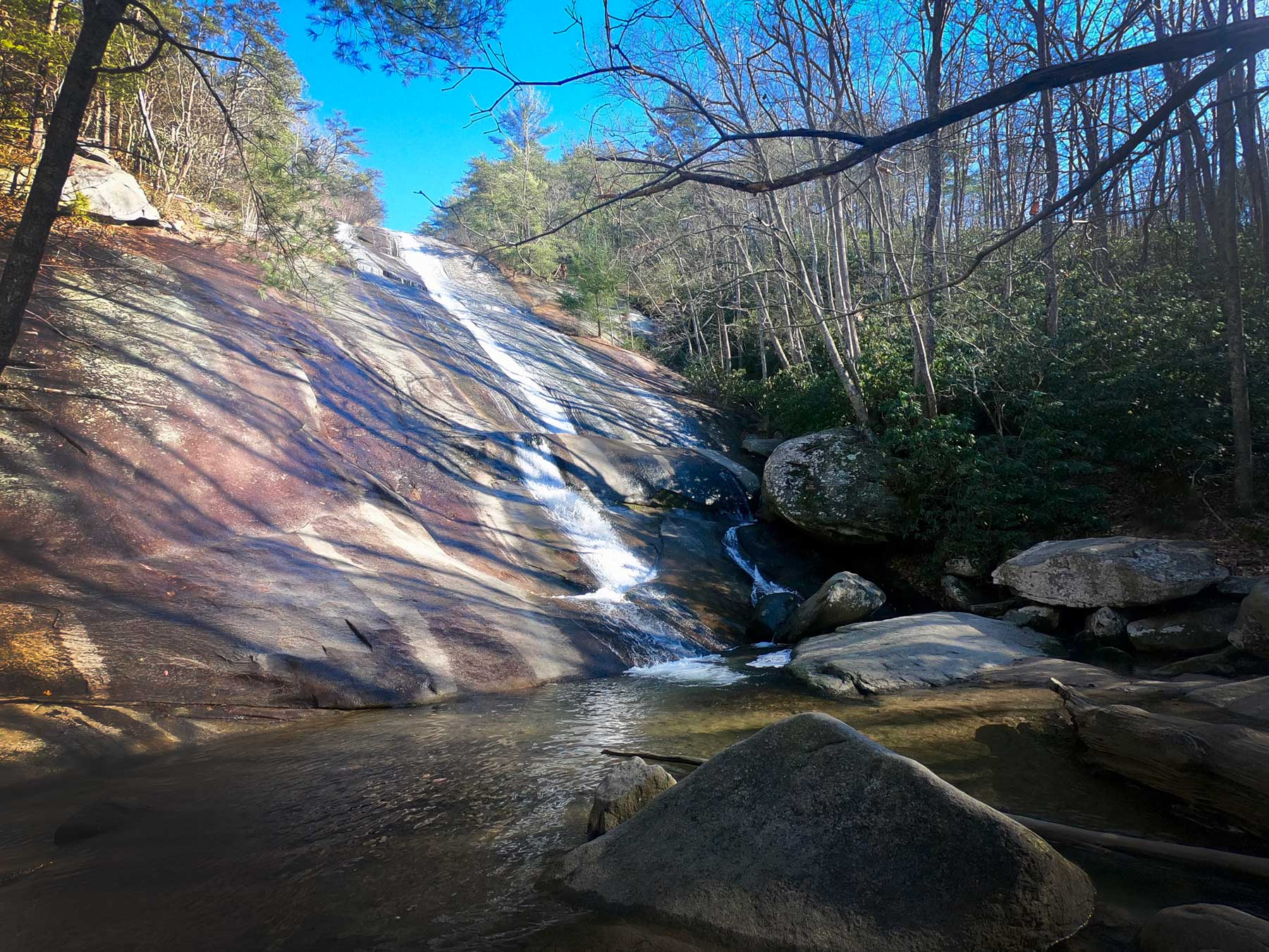 Stone Mountain 200 foot waterfall at Stone Mountain State Park, North Carolina