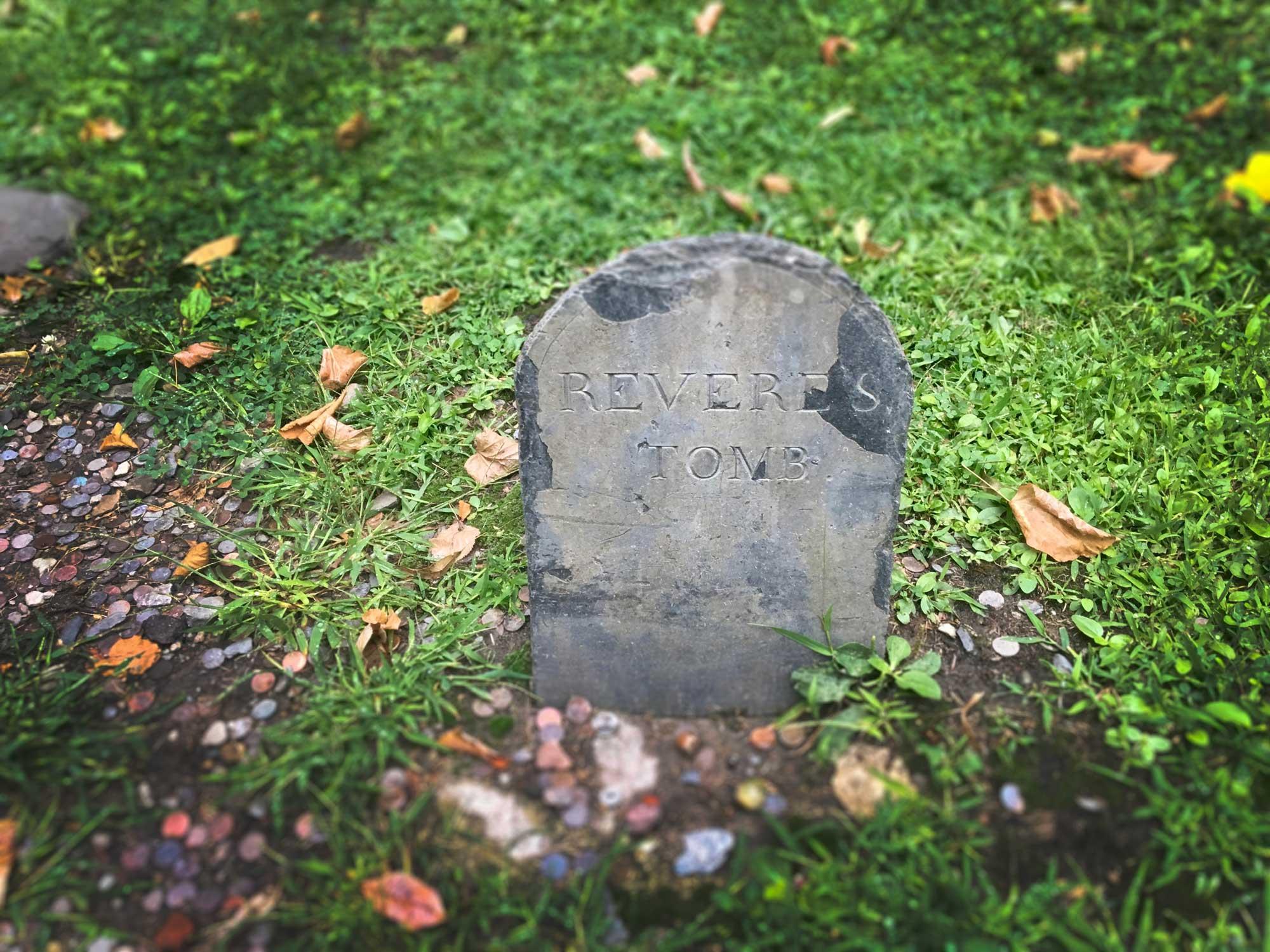 Revere's Tombstone in Granary Burying Ground on Freedom Trail in Boston, Massachusetts