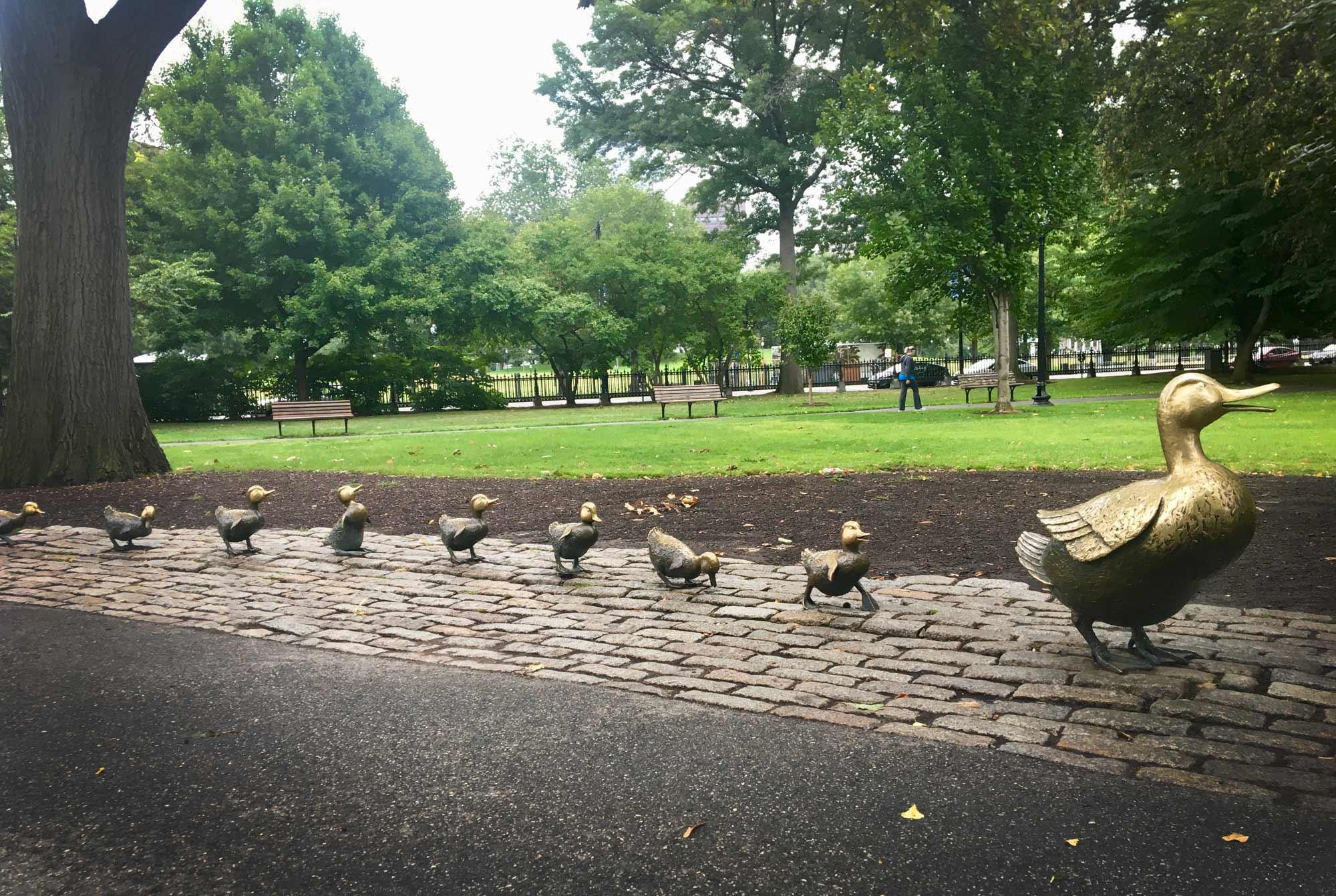 Bronze statues of Make Way for Ducklings in Boston Public Garden, Boston, Massachusetts