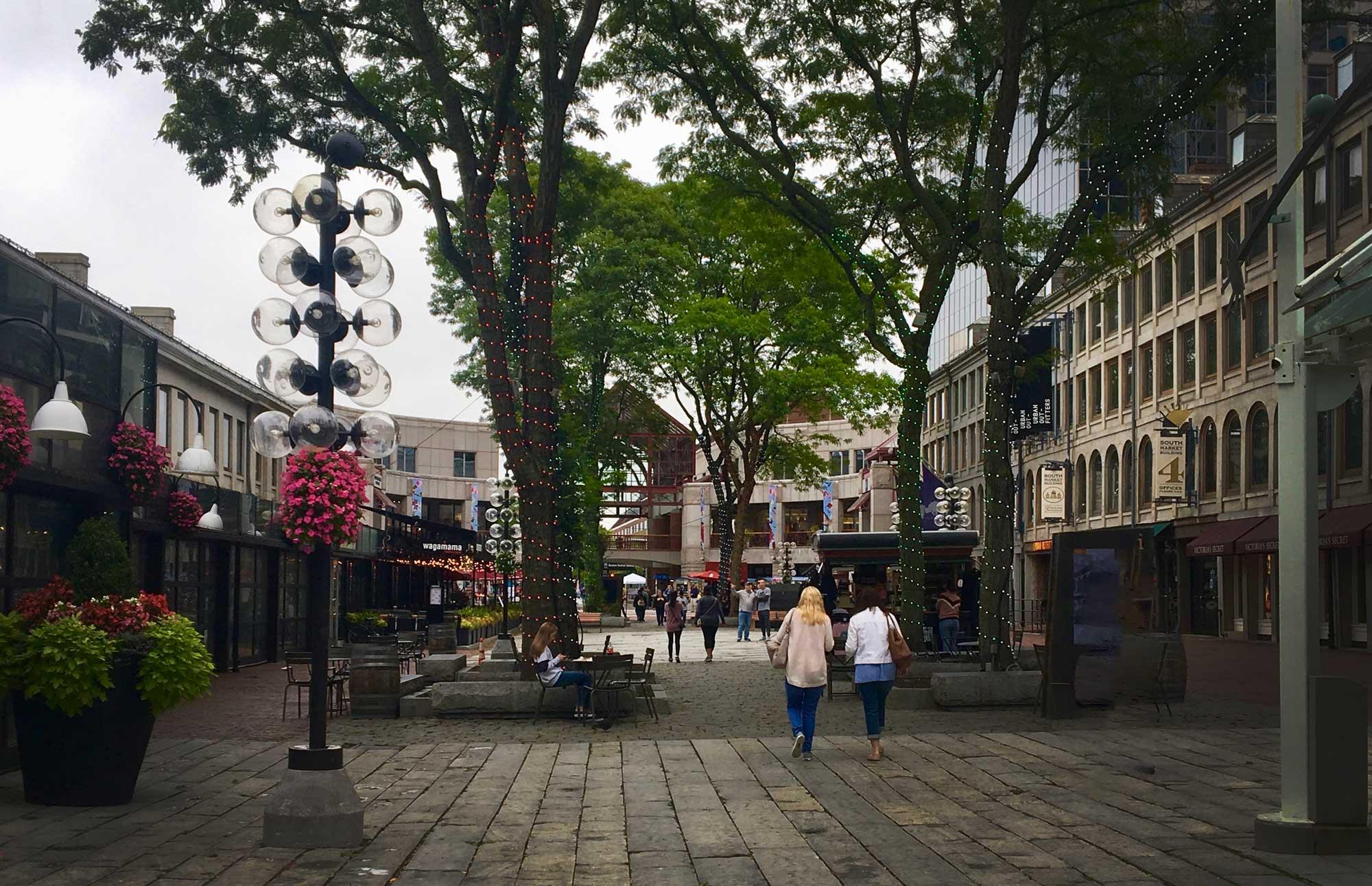 Courtyard outside Quincy Market near Freedom Trail in Boston, Massachusetts