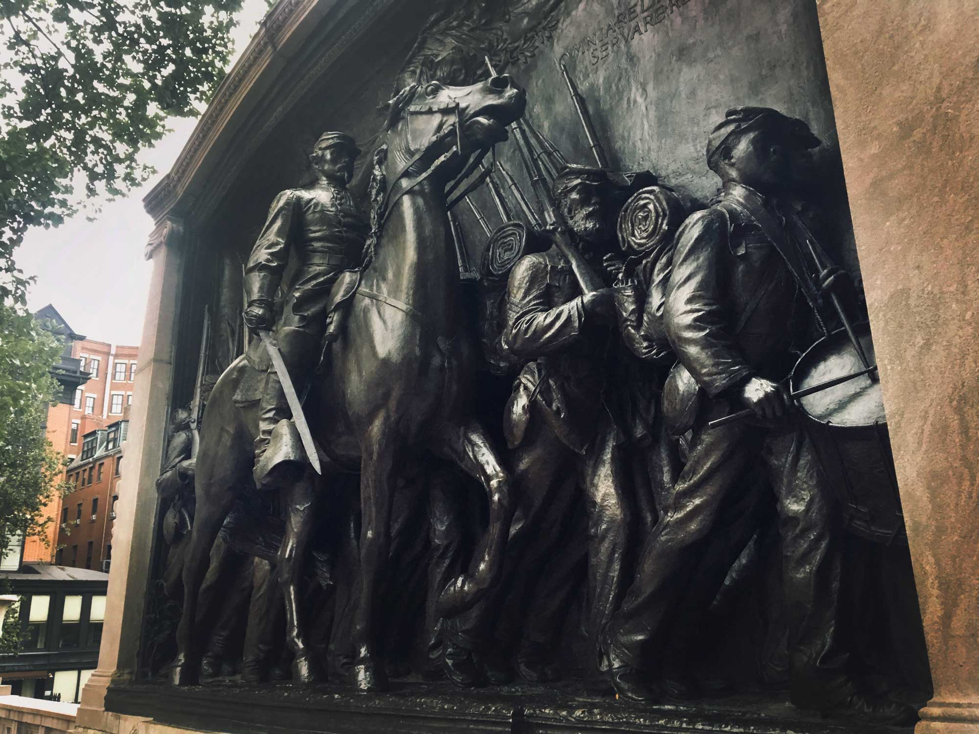 Shaw Memorial on Freedom Trail in Boston, Massachusetts