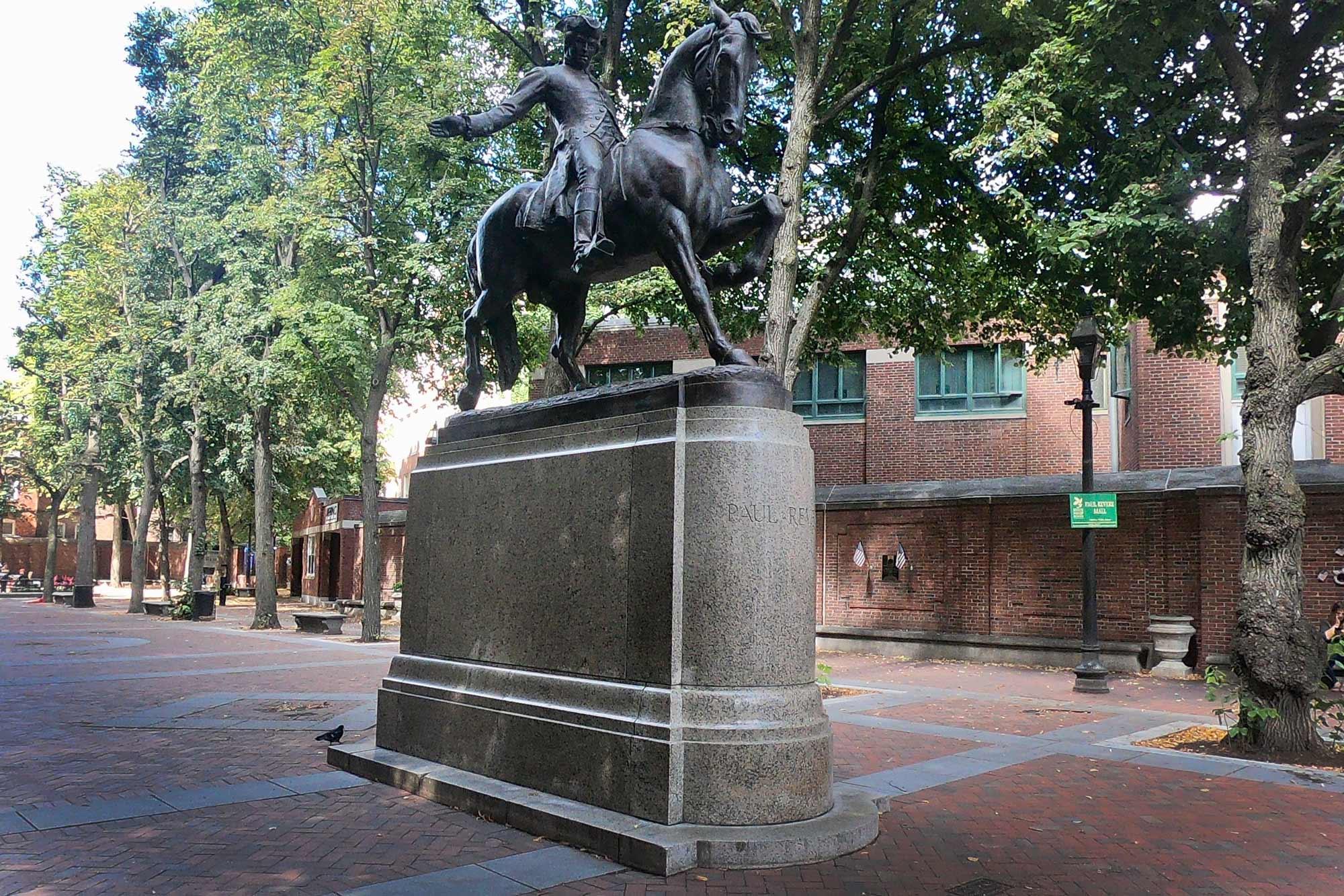 Paul Revere Statue in Paul Revere Mall along Freedom Trail in Boston, Massachusetts
