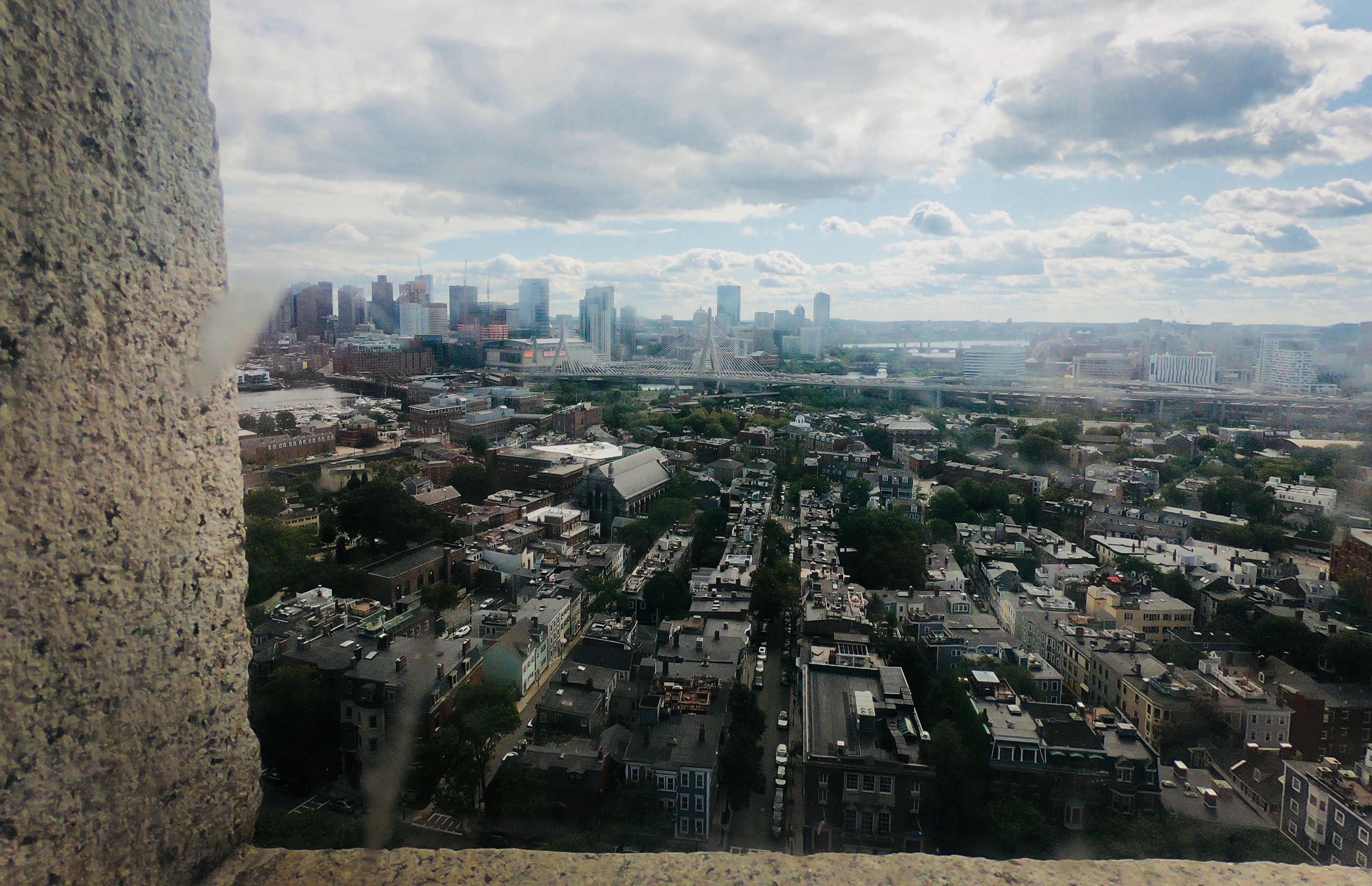 Bird's eye view from Bunker Hill Monument along the Freedom Trail in Boston, Massachusetts
