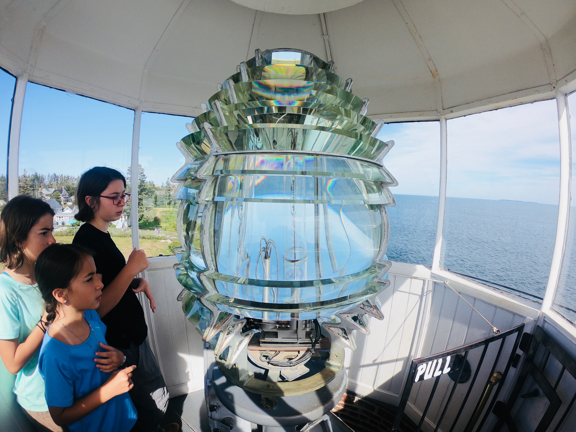 Sparkling fourth order Fresnel lens at Pemaquid Point Lighthouse in Bristol, Maine