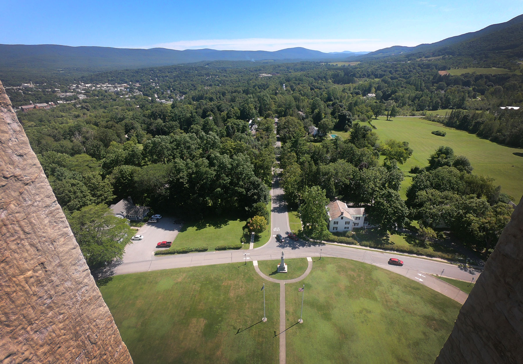 Looking out of the top of Bennington Battle Monument, Vermont