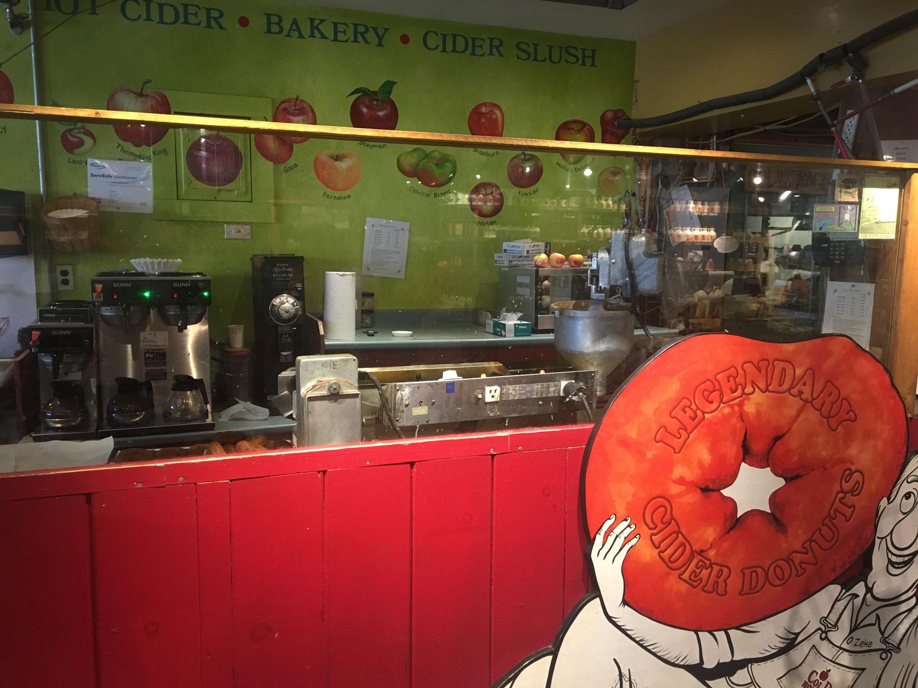 Interior of Cider Hollow Cider Mill with legendary cider donut signage