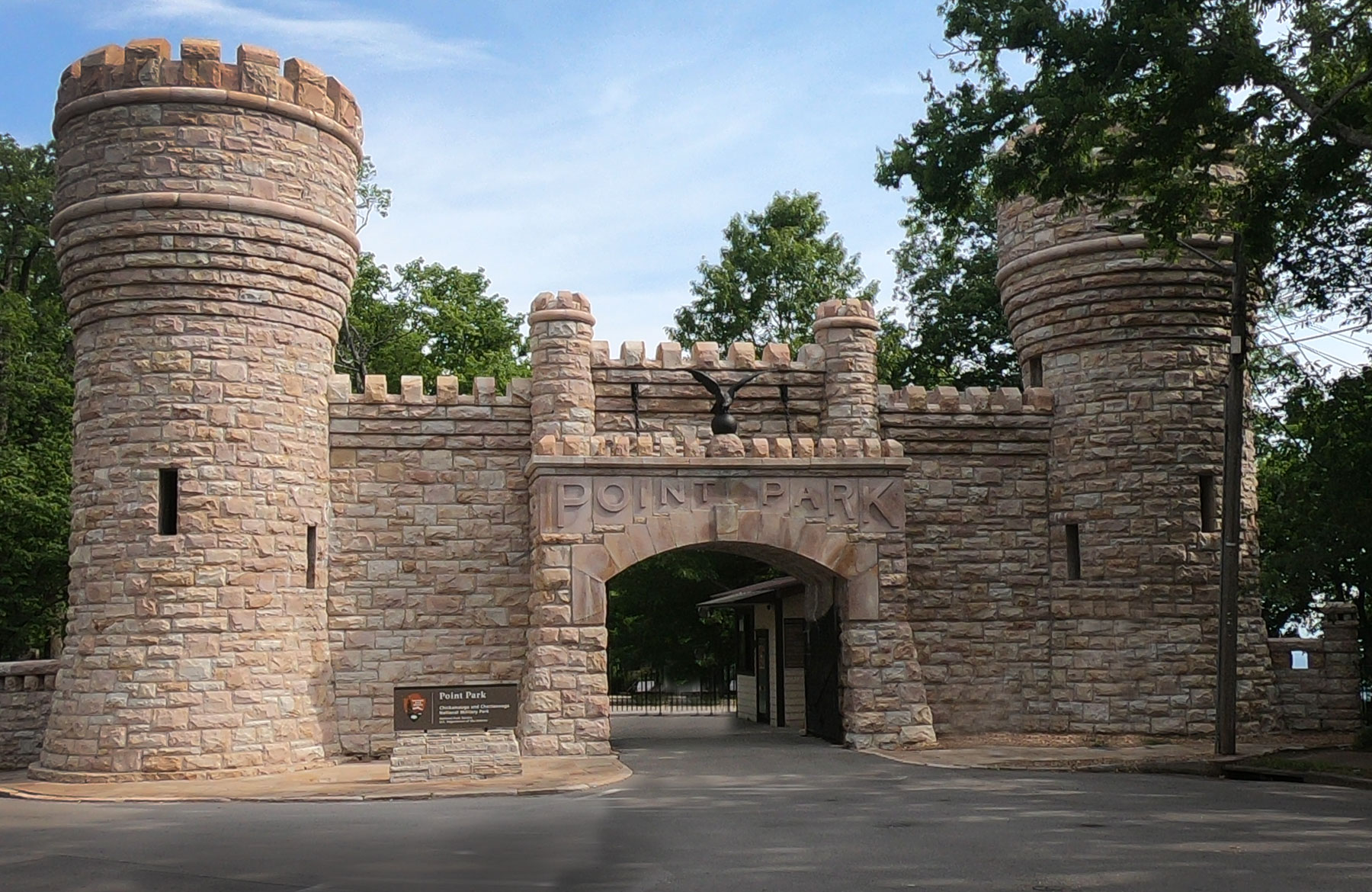 Turreted castle gates of Point Park Gate, Chickamauga and Chattanooga National Military Park, Tennessee