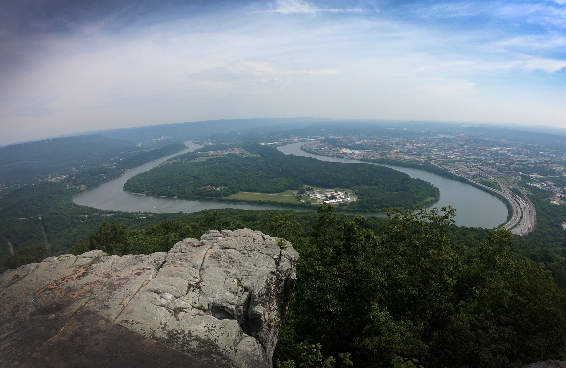 Stone overlook of Moccasin Bend in Chickamauga and Chattanooga National Military Park, Tennessee
