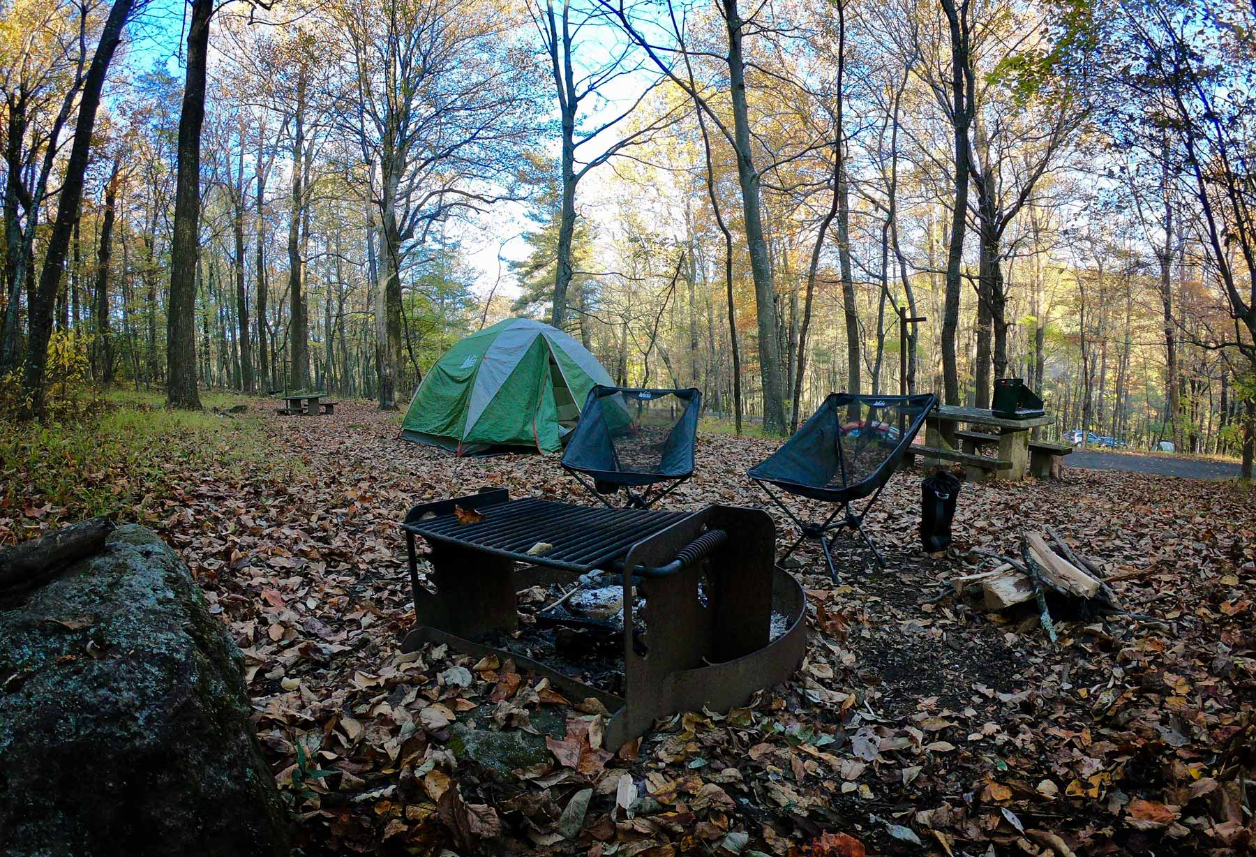 Campsite at Peaks of Otter Campground on Blue Ridge Parkway, Virginia