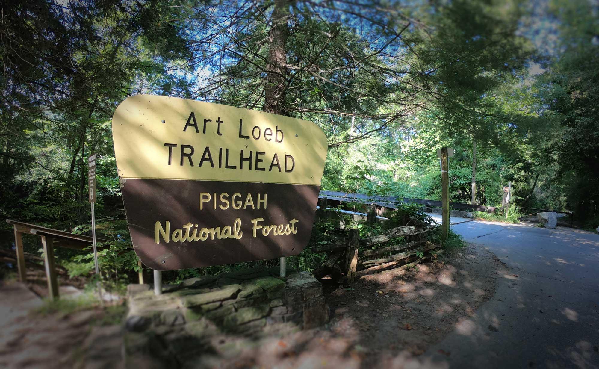 Art Loeb Trailhead signage in Pisgah National Forest, Davidson River Campground, North Carolina