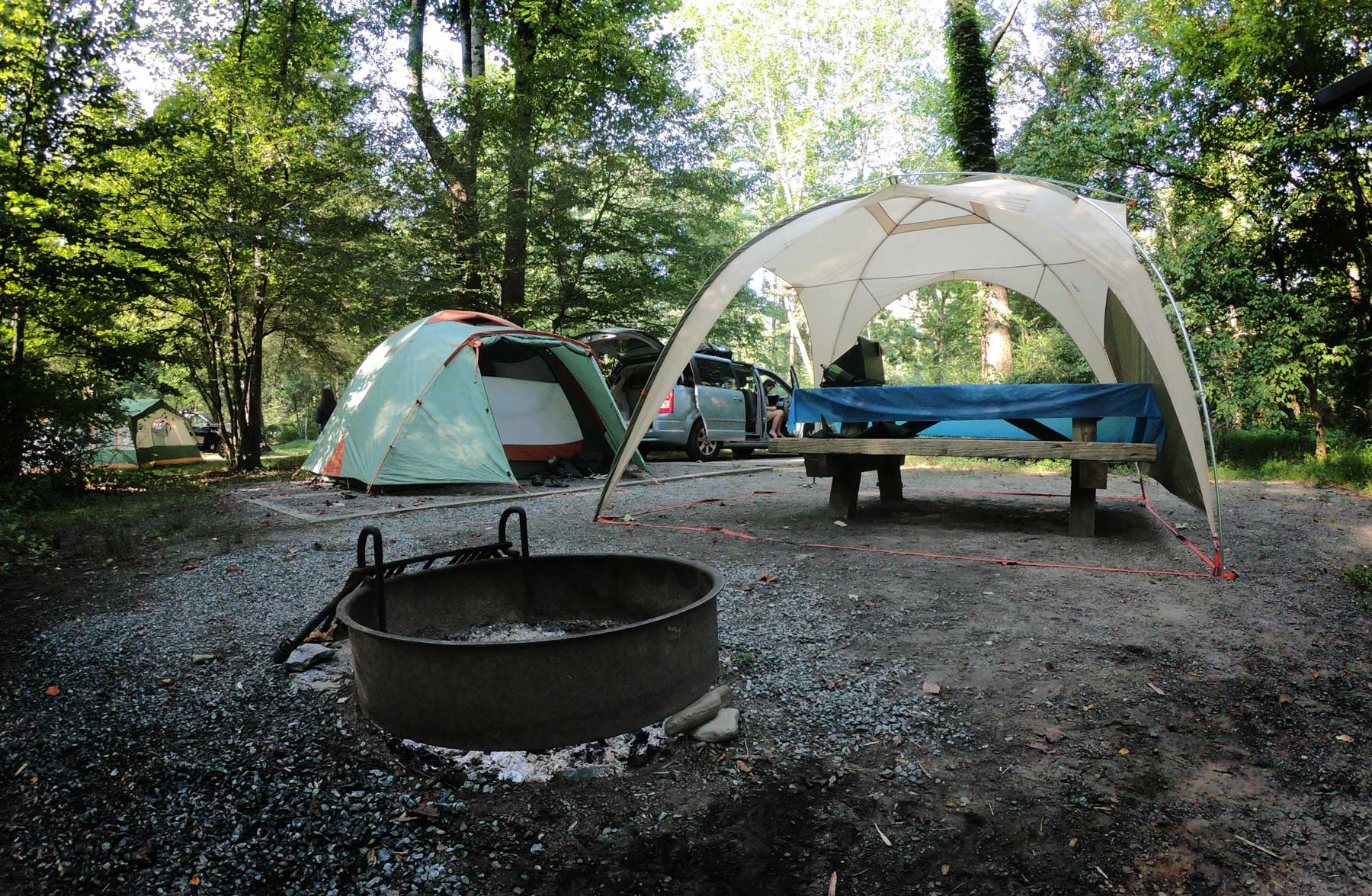 Tent and picnic table at campsite in the Davidson River Campground, near Brevard, North Carolinaa
