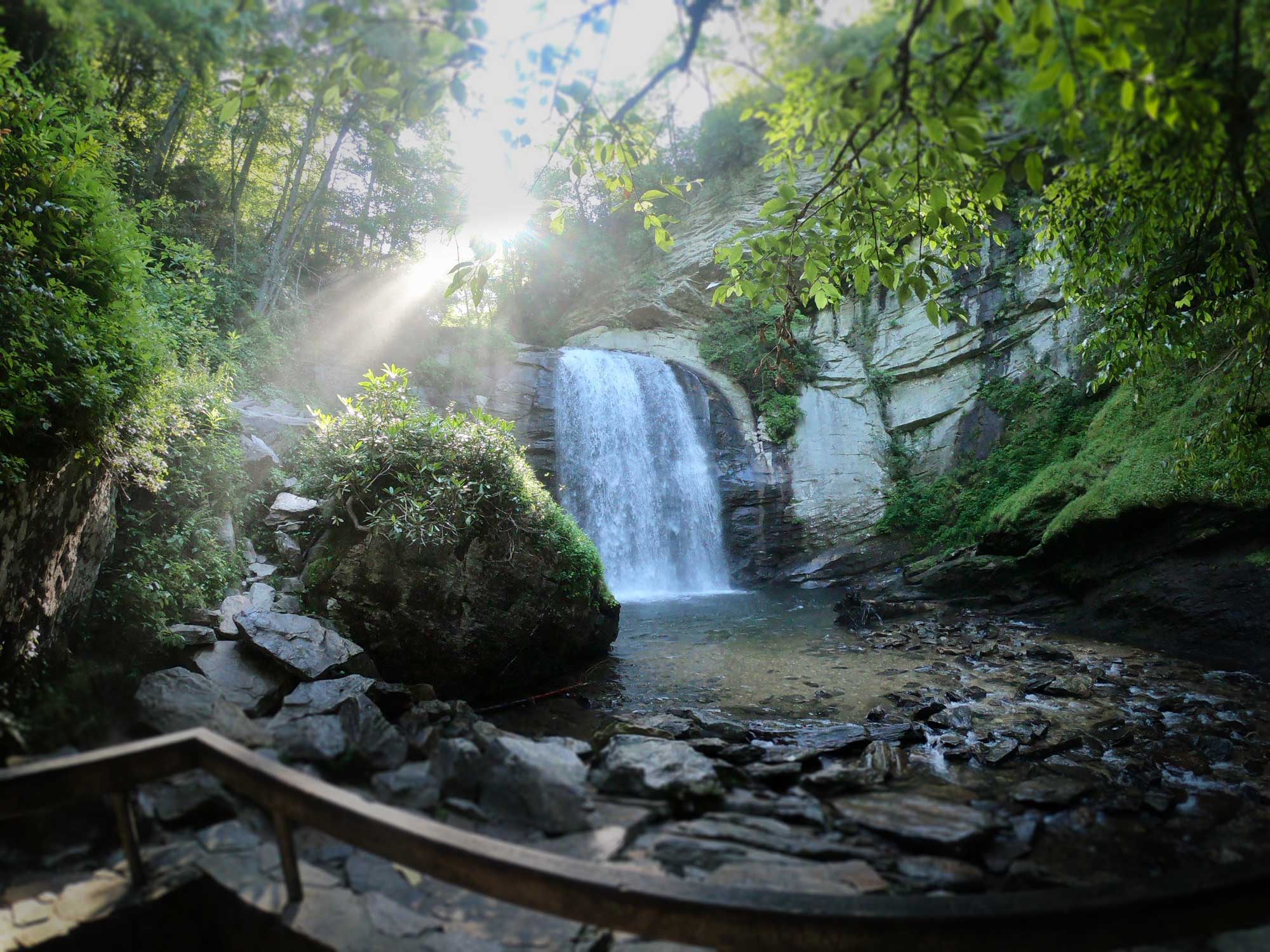 Looking Glass Falls on early morning with sunlight