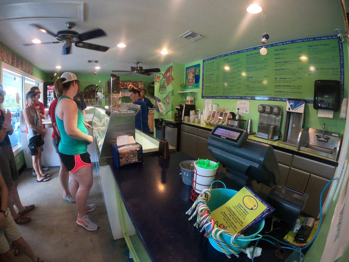 Interior of Pinocchios Original Italian Ice Cream shop on Sanibel Island, Florida