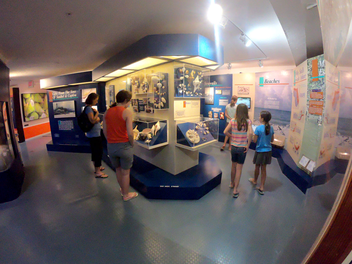 Mother and four daughers looking at exhibits at the Bailey-Matthews National Shell Museum, Sanibel Island, Florida