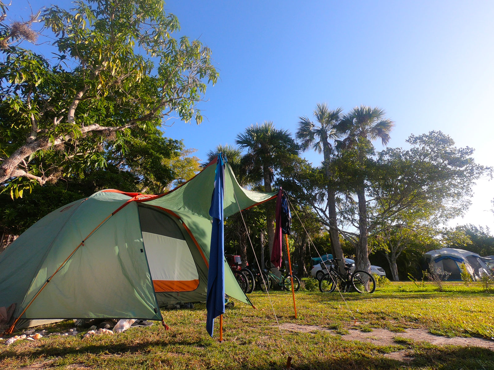 Tent and bikes while camping at  Periwinkle Park and Campground, Sanibel Island, Florida