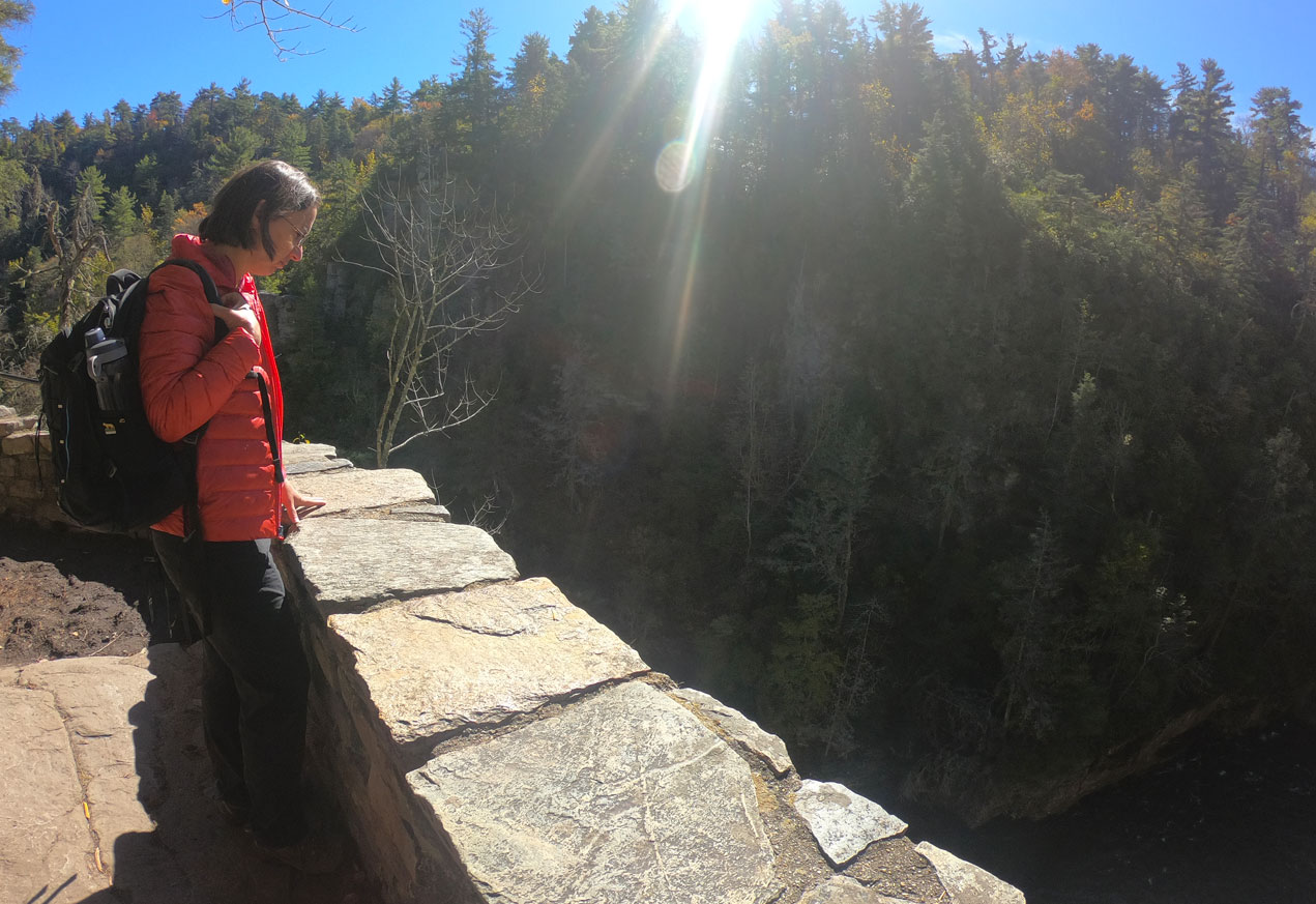Photo of a woman wearing a red REI 650 Down Jacket overlooking a waterfall