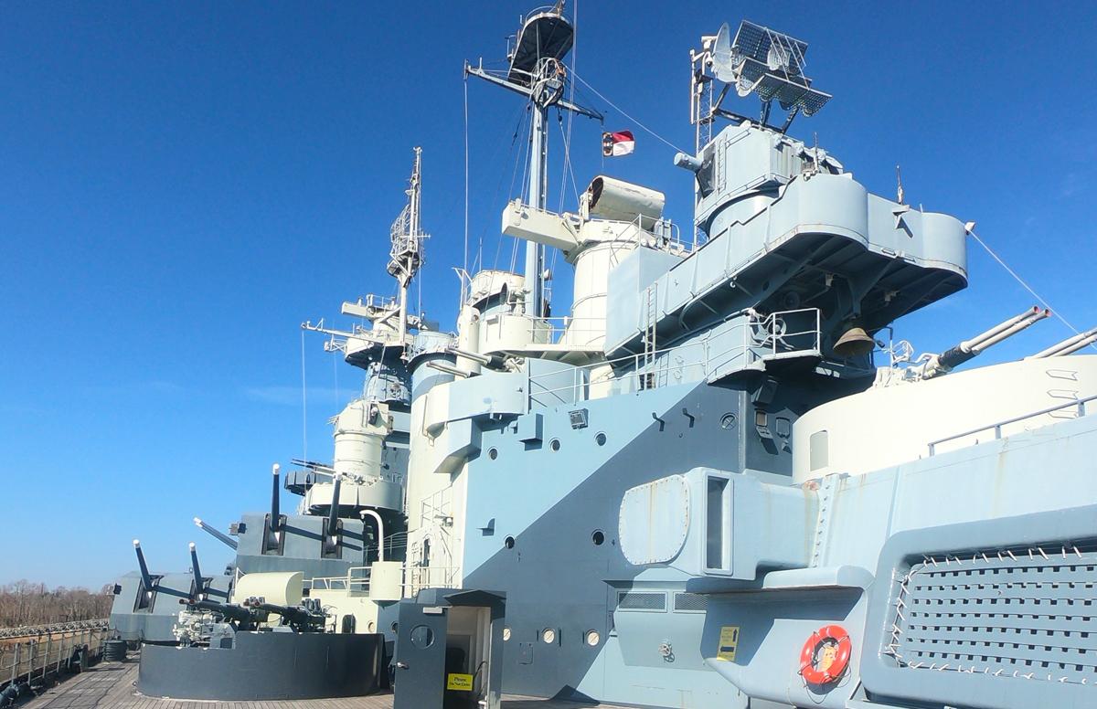 Battleship USS North Carolina Memorial main deck in Wilmington, North Carolina