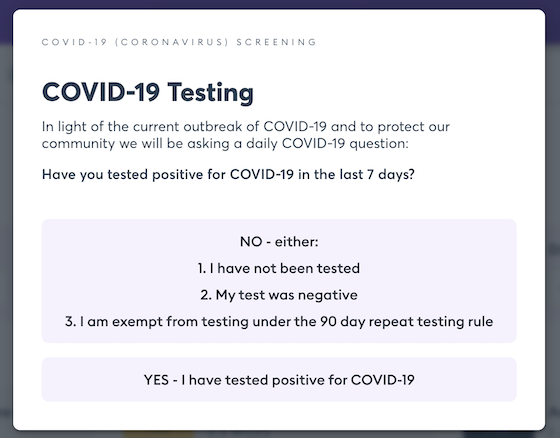 Florence covid test question