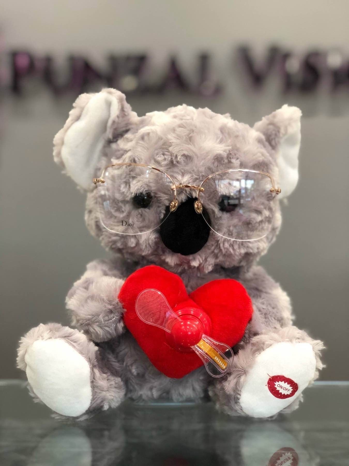 Valentines Day Bear in Dior, holding a heart.