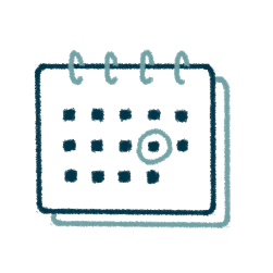 icon of a calendar with a date circled